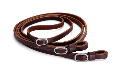 Angus Barrett Joined Reins in Dark Natural with stainless steel buckles