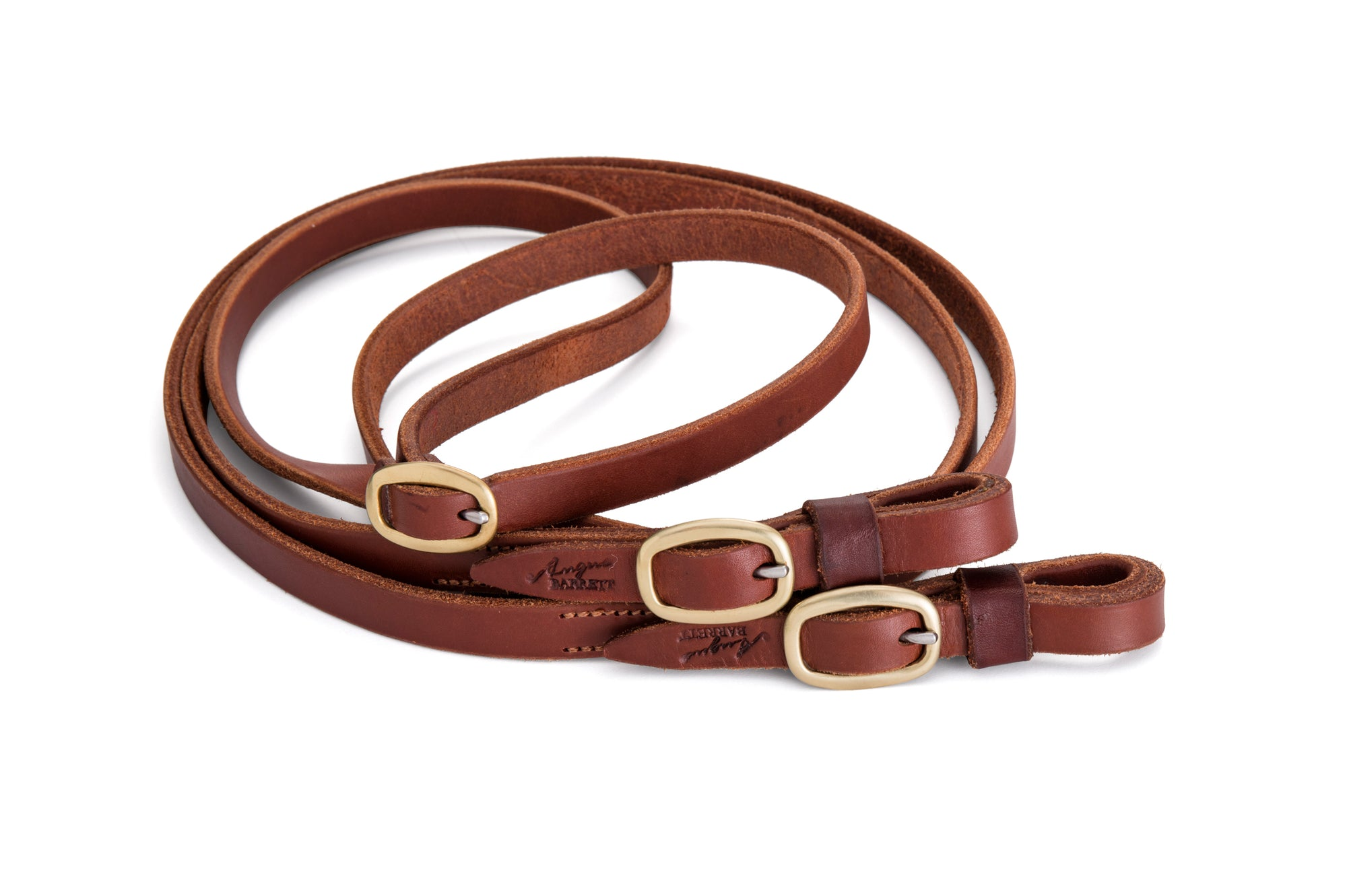 Angus Barrett Joined Reins in Natural with brass buckles