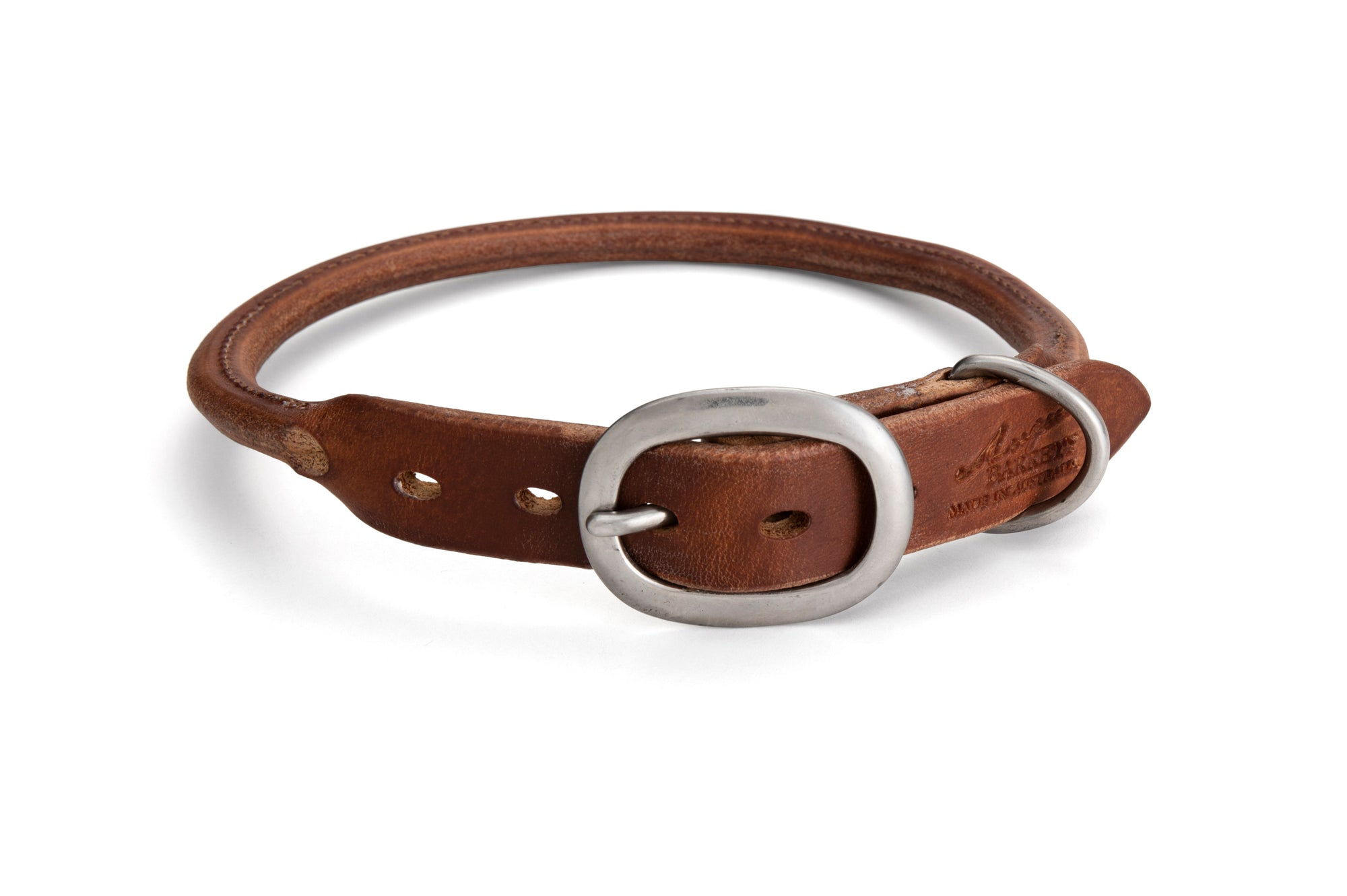 Angus Barrett Rolled Leather Dog Collar in Brown