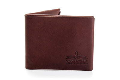 "Angus Barrett 'Mick"" Bi-Fold Wallet in Brown Kangaroo Leather"