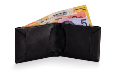 "Angus Barrett 'Mick"" Bi-Fold Wallet in Black Kangaroo Leather"