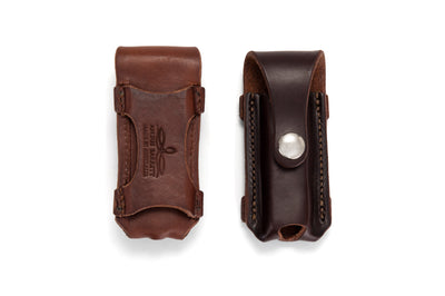 Angus Barrett Button Close Knife Pouch is available in Natural and Dark Natural