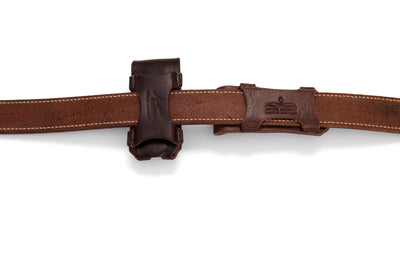 Angus Barrett Button Close Knife Pouch can be worn vertically or horizontally on your belt