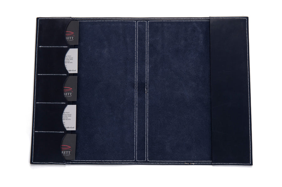 Angus Barrett A4 Leather Diary & Notebook Cover - Navy
