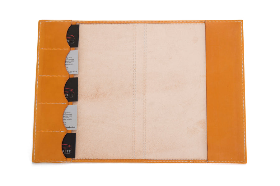 Angus Barrett A4 Leather Diary & Notebook Cover - Gold