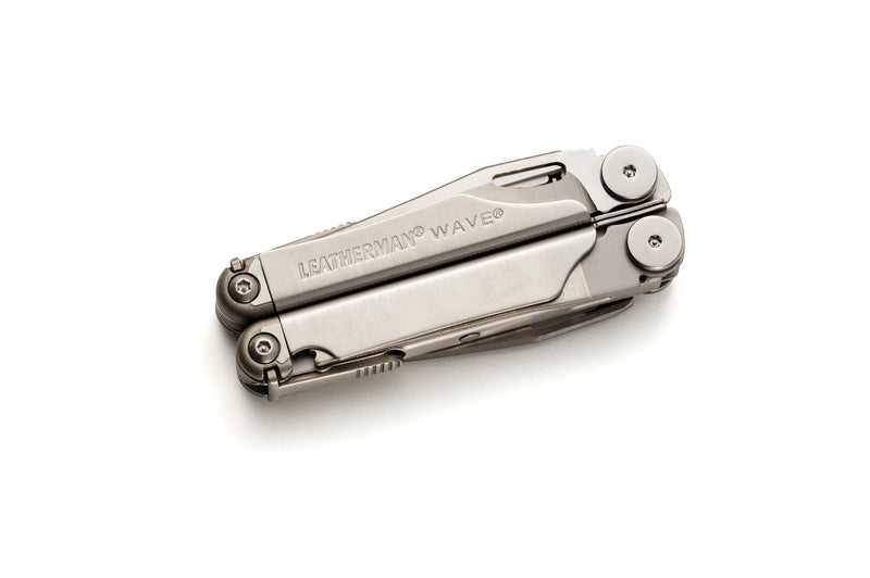 Genuine Leatherman Wave featuring 17 tools -  opened