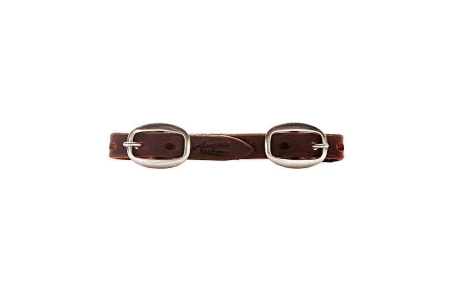 Angus Barrett Dark Natural Double Buckle Curb Strap in Brass