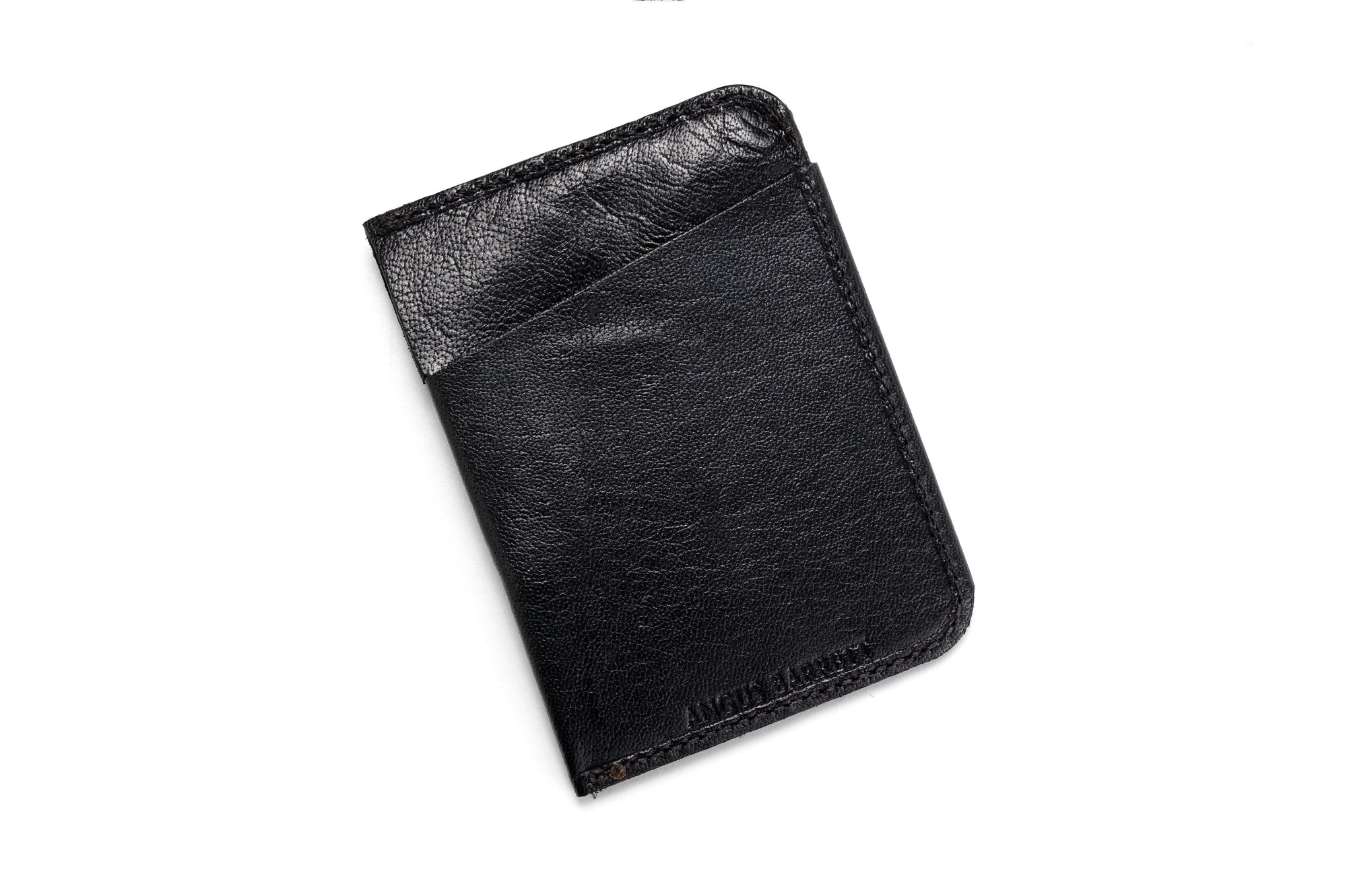 "Angus Barrett 'The Slip"" Card Holder in Black Kangaroo Leather"