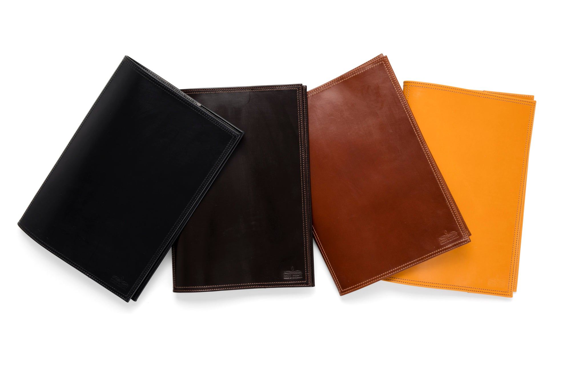Angus Barrett A4 Diary Cover In Black Dark Brown Tan And Gold
