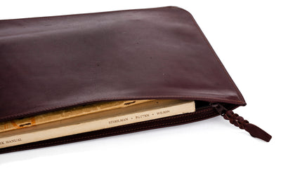 Kangaroo Leather Document And Tablet Case - Brown