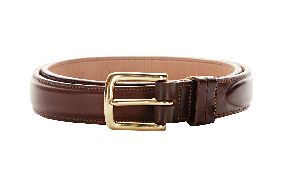 Angus Barrett London Belt in Cognac has a solid brass buckle
