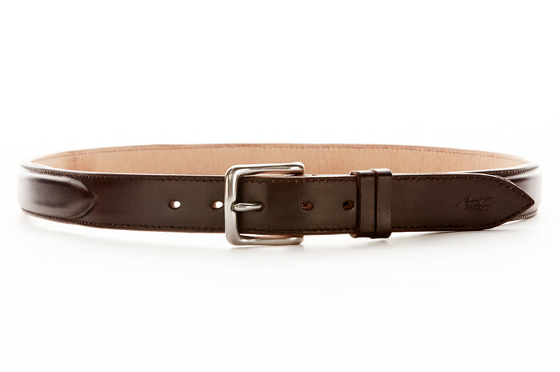 Angus Barrett London Belt in Dark Chocolate has a stainless steel buckle