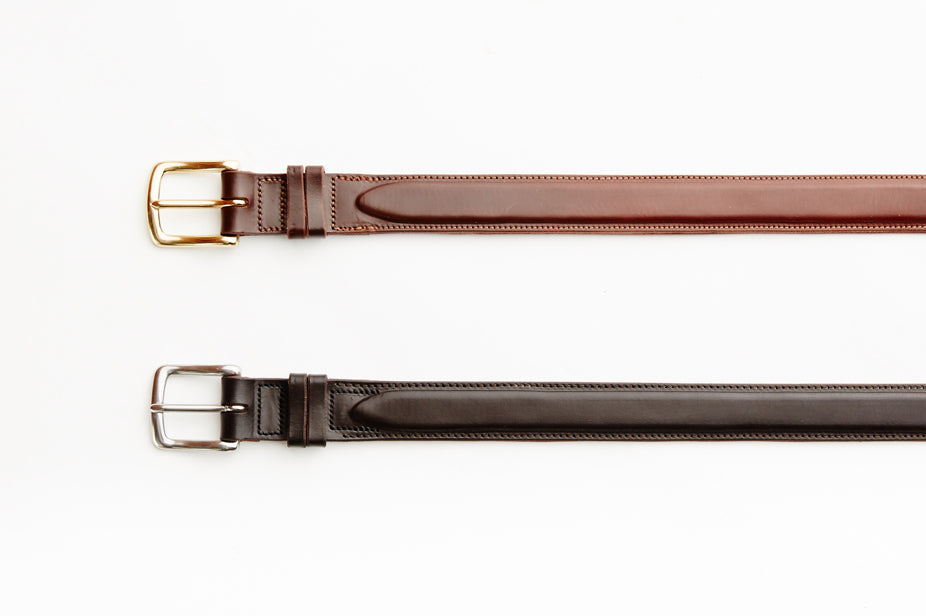 Angus Barrett London Belt in Cognac (Brass Buckle) and Dark Chocolate (Stainless Steel Buckle)