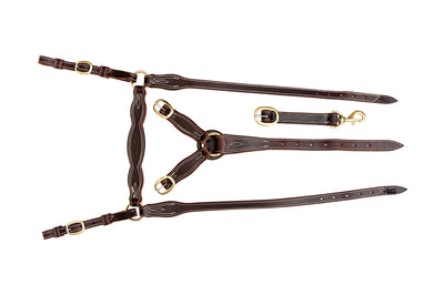Angus Barrett Station Breastplate - Dark Natural with Brass Hardware - Fully Stitched