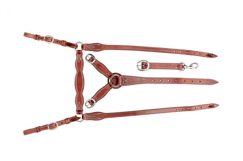 Angus Barrett Station Breastplate - Natural with Brass Hardware - Fully Stitched