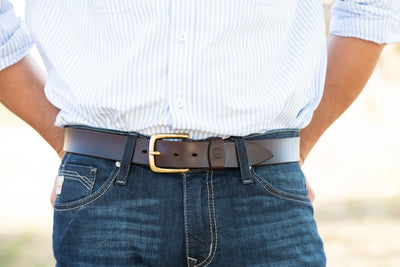 Brunet Belt - Dark Natural - Brass
