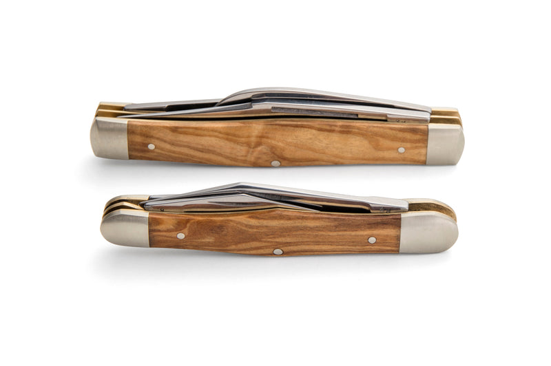 Robert Klaas 3 Blade Pocket Knife with Genuine Olivewood Handle - Made for Angus Barrett