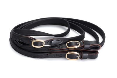 Joined French Leather Reins - Black