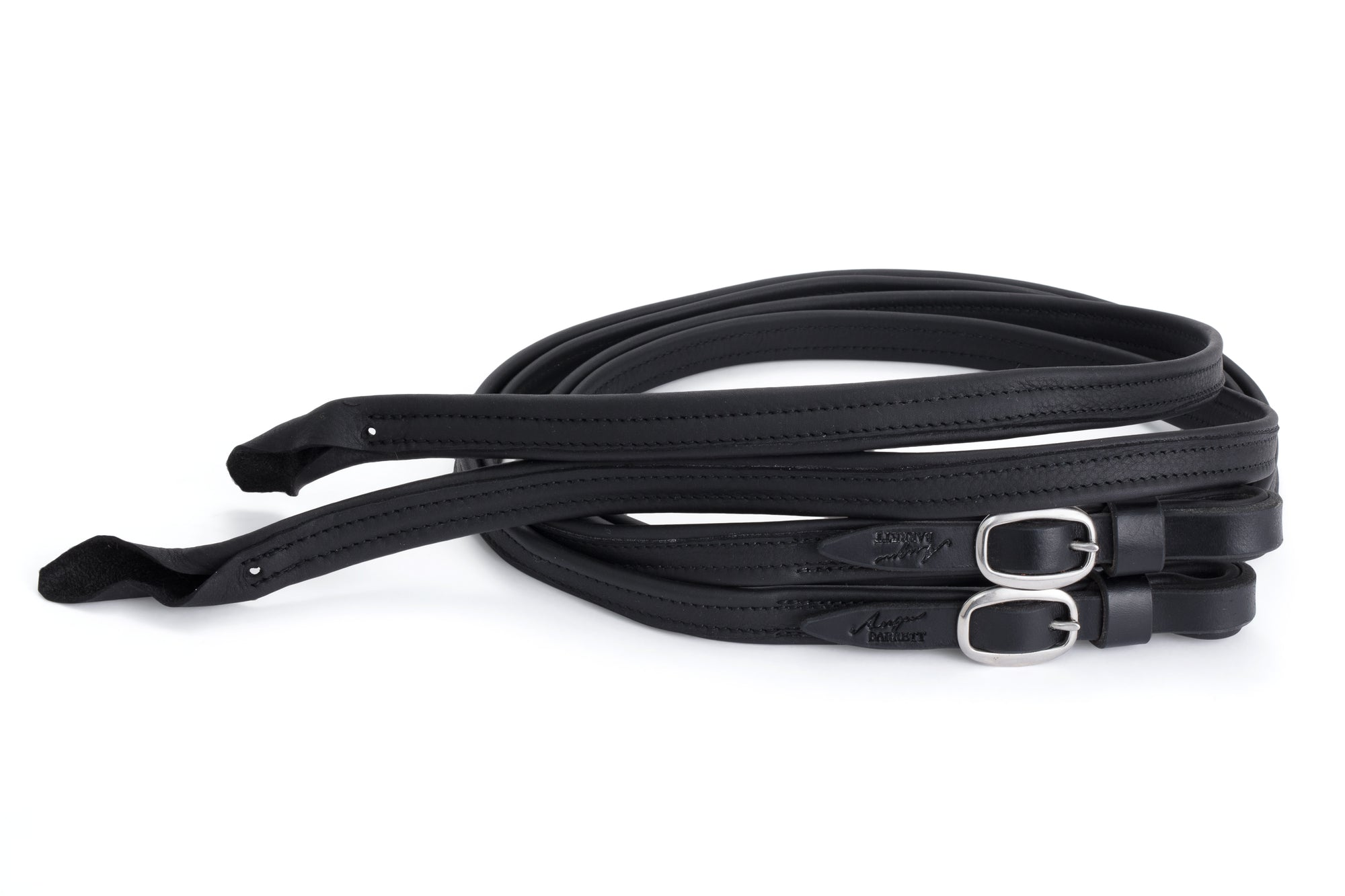 Split French Leather Reins - Black