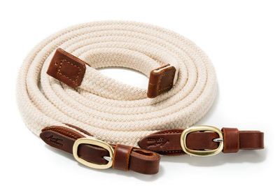 Angus Barrett Soft Cotton Reins - Natural with Brass buckles