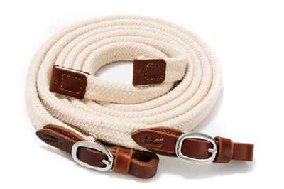 Angus Barrett Soft Cotton Reins - Natural with Stainless Steel buckles