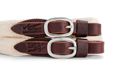 Angus Barrett Soft Cotton Reins - Dark Natural with Stainless Steel buckles