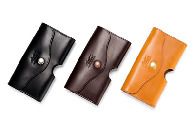 Angus Barrett Phone Pouch in Black, Dark Brown and Gold