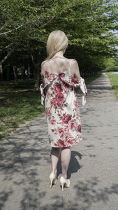 Tie-Sleeve Floral Dress