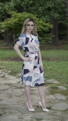 Split-Neck Geometric Shift Dress