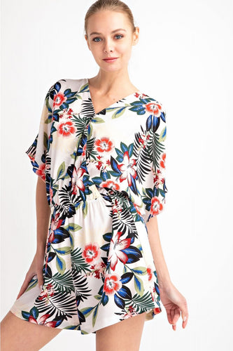 Tropical Cold-Shoulder Romper