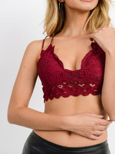 Strappy Lace Bralette | Burgundy
