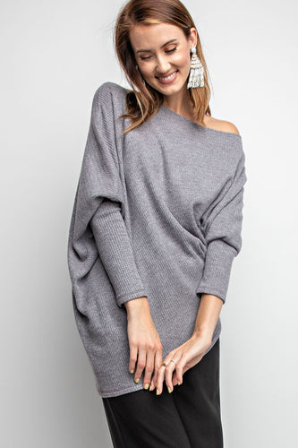 Off-the-shoulder Brushed Thermal Top