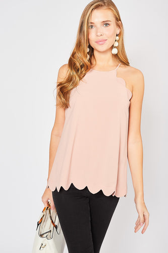 Scalloped High-Neck Top
