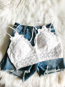 Strappy Lace Bralette | White