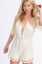 Lace-up Embroidery Mesh Romper