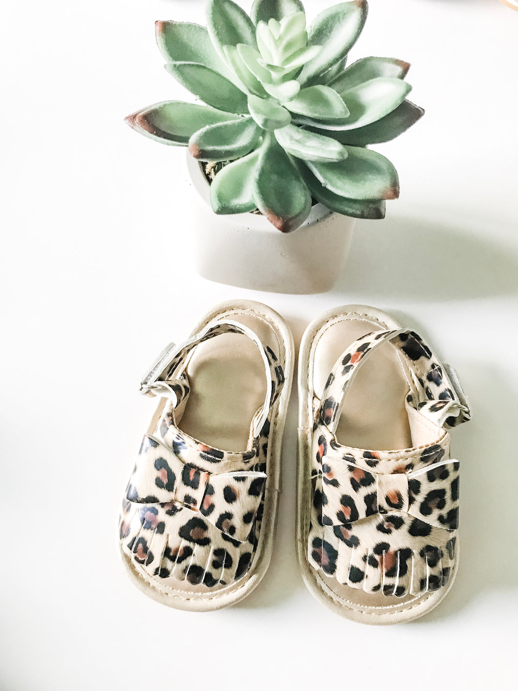 Leopard Bow Open-Toe Sandals