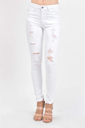 White High-Rise Skinny Jeans