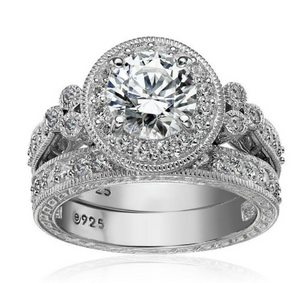 12 Ct Round Cut CZ 925 Sterling Silver Halo Wedding Ring Sets