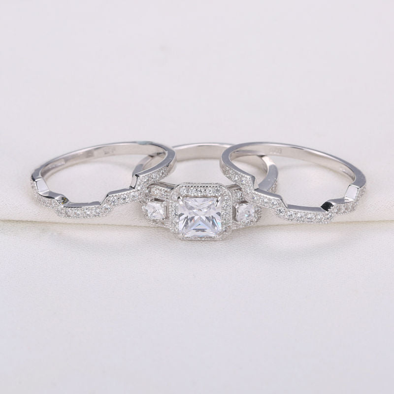 1.5 Ct Princess Cut CZ 3 Pcs Solid 925 Sterling Silver Wedding Ring Sets Engagemnet Band Jewelry For Women
