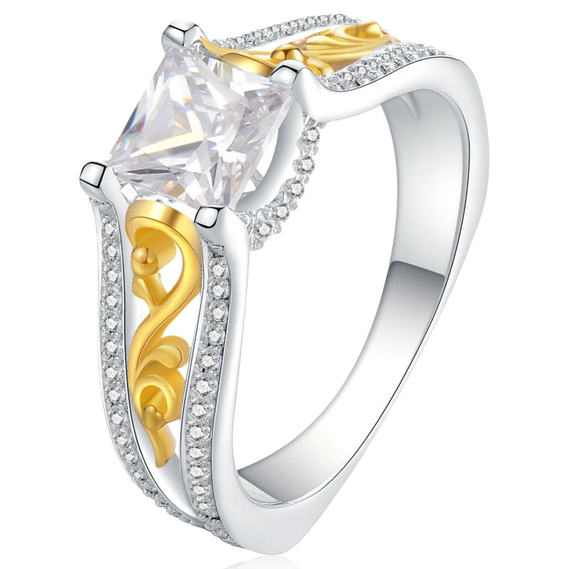 1.4 Ct Princess Cut AAA CZ Gold Color 925 Sterling Silver Wedding Ring For Women Gift Free Shipping