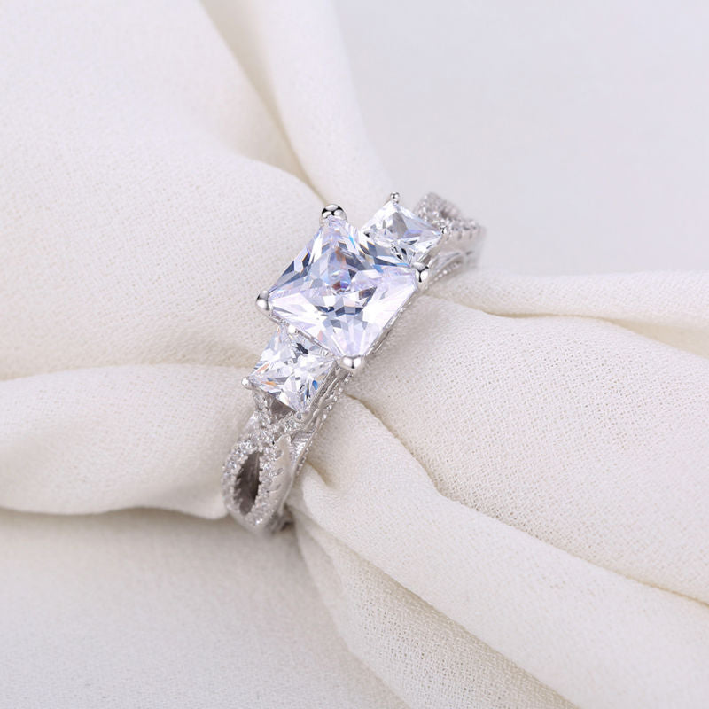 1.8 Carats Princess Cut AAA CZ Genuine 925 Sterling Silver Wedding Ring Stunning Jewelry For Women