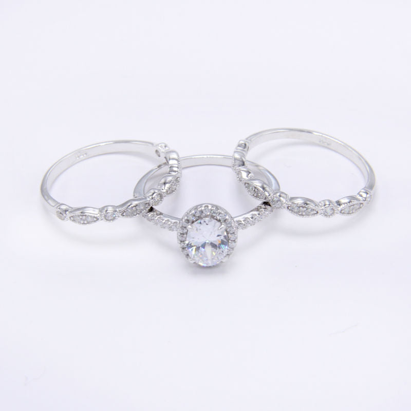 1.8 Ct 3 Pcs Sets Solid 925 Sterling Silver Halo Wedding Rings Engagement Band Classic Jewelry For Women