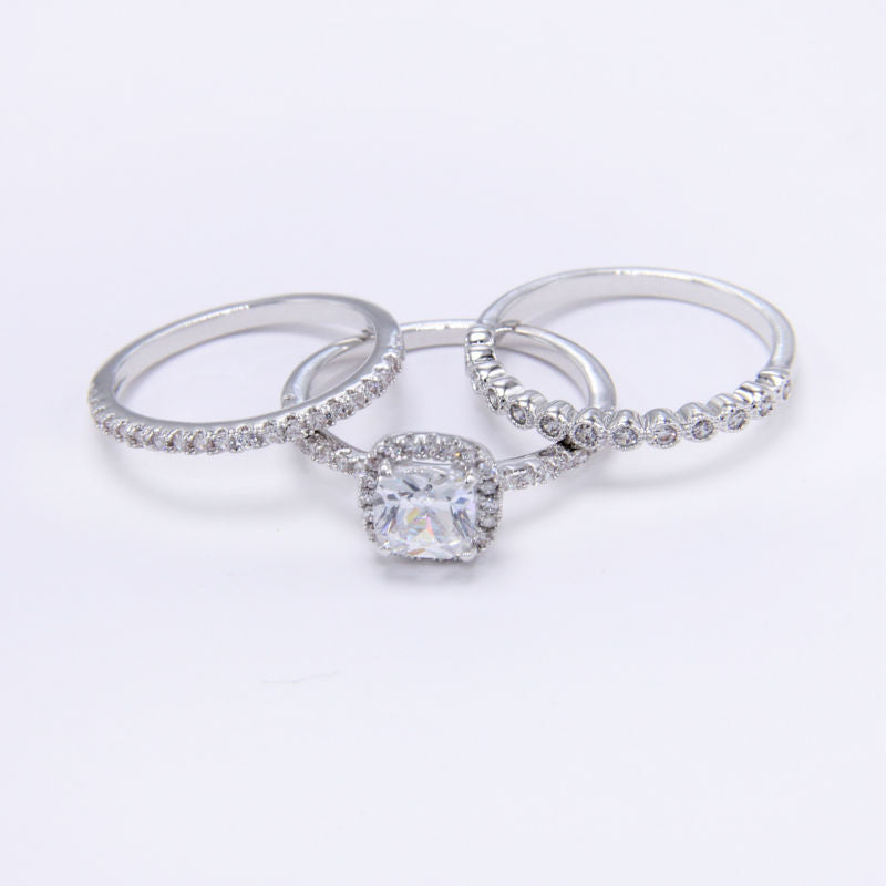 1.7 Ct Radiant Cut CZ 3 Pcs Genuine 925 Sterling Silver Wedding Ring Sets Engagement Band Fashion Jewelry For Women