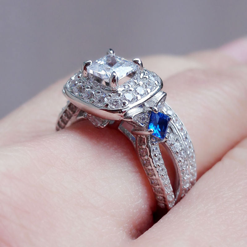 1.2 Ct Special Blue Side Stones Solid 925 Sterling Silver Halo Wedding Rings Engagement Band Jewelry For Women