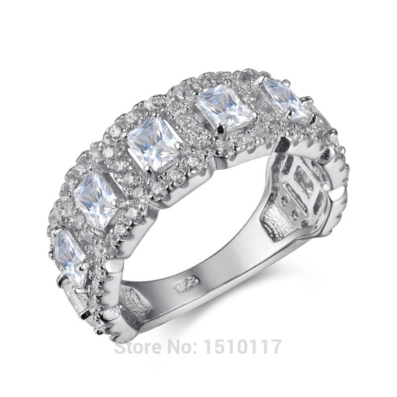 Solid 925 Sterling Silver Wedding Ring Engagement Band AAA CZ Eternity Classic Jewelry For Women