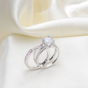 2 ct round cut cz solid 925 sterling silver wedding ring sets engagement band fashionable jewelry - Silver Wedding Ring Sets