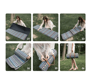 Washable Picnic Mat - Urban Modern (Blue & White Striped)-Novaprosports
