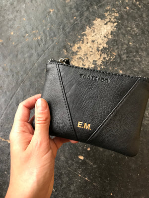 The Perfect Coin Purse MONOGRAMMED - Matt Black Leather