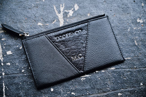 The Gem Cardwallet MONOGRAMMED - Matt Black Leather