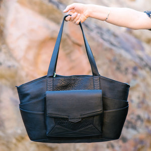 SET - Pinnacle Tote Nappy Bag + Orbit    Matt Black Full Grain Leather